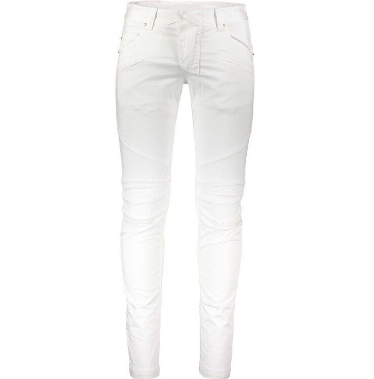 "PIERRE BALMAIN Designer White & gold Studded Skinny Jeans W34"" - Made In"
