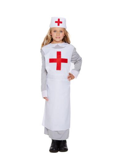 Girls WW1 Nurse Costume Child Vintage Uniform Book Day Week Fancy Dress Outfit