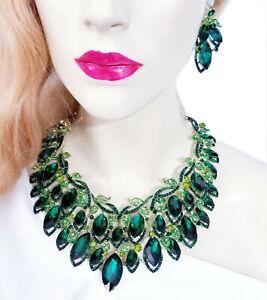 Choker-Bib-Necklace-Earring-Set-Rhinestone-Crystal-Green