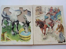 Vintage Pair Playskool Tray Puzzles Golden Press Childrens Horses Stage Coach