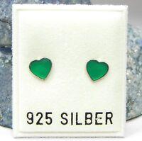Neu 925 Silber OHRSTECKER mit HERZEN in grün OHRRINGE Earrings HERZ