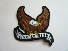 Adler,Ride To Live ,Patch,Aufnäher,Badge,Biker,Aufbügler,Iron On,Braun