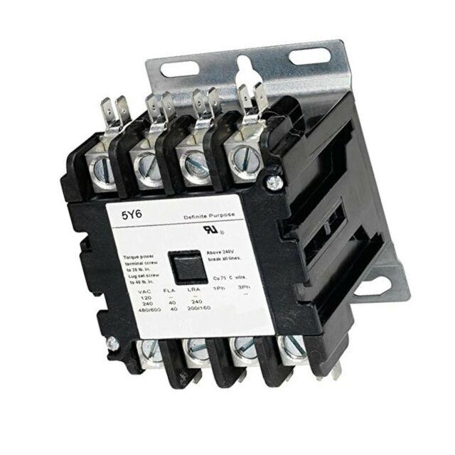 5y6 40 Amp Definite Purpose Contactor 4 Pole 120v Lighting Heating Refrigerat