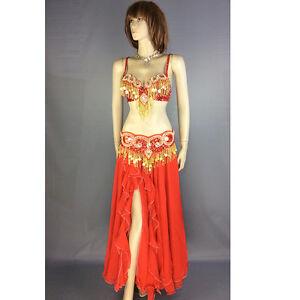New Womens Belly Dance hip scarf Costumes Bra/&Belt Set handmade beaded costume