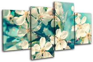 Cherry Blossom Canvas Wall Art cherry blossom teal floral multi canvas wall art picture print va