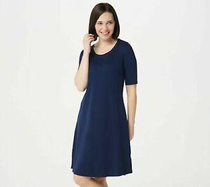 New-ISAAC-MIZRAHI-LIVE-Size-PL-Deep-Blue-Elbow-Sleeve-Scoop-Neck-Knee-Dress