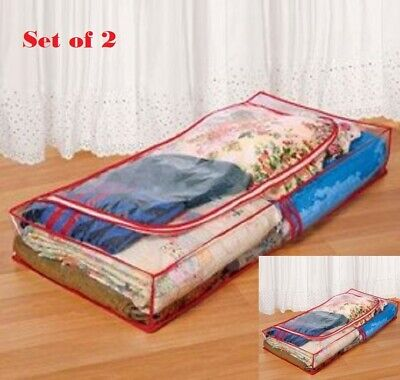 Underbed Storage Set of 2 LARGE Zippered Reusable PVC Roomy Bags Under Bed X2