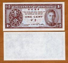 Hong Kong, 1 Cent, ND (1945), Pick 321 KGVI UNC