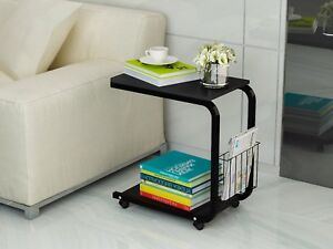 U Shaped Side Table Portable Snack Cart Tray Computer Standing Desk