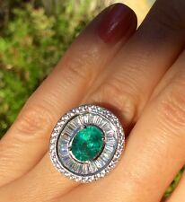 Vintage Estate 2.091ct Natural Earth Mined Green Emerald Sterling Silver Ring 6