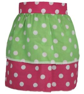 Ladies-Pink-amp-White-Polka-Dot-Pinafore-With-Green-Polka-Dot-Apron-One-Size