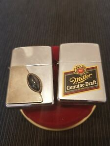 2 Zippo Lighter RARE Chrome USA Miller & Black Stone Black Original WOW!!!