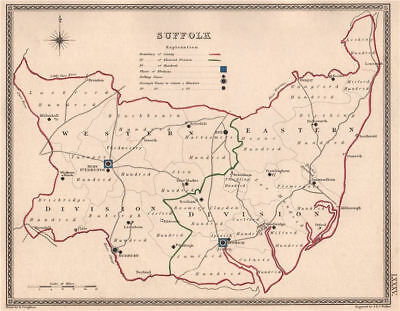Suffolk Antique County Map By Creighton/walker Electoral 1835 Old Art Prints