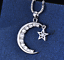 miniature 12 - Star Moon Necklace Silver Crystal Jewellery 925 Chain Pendant Gift Woman Girl CZ