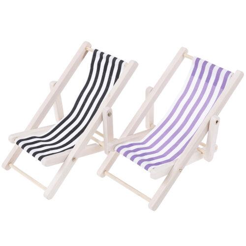 1:12 Dollhouse Miniature Furniture Wooden Lounge Chair Dollhouse Beach Ch FE