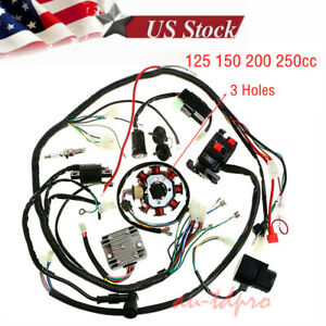 125-250cc motorcycle stator cdi coil electric wiring harness wire loom  assembly | ebay  ebay