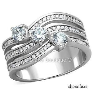 2-30-Ct-Round-Cut-CZ-Stainless-Steel-Anniversary-Fashion-Ring-Women-039-s-Size-5-10