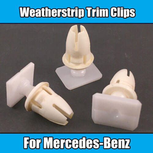 10x For Mercedes-Benz Lower Door Seal Weatherstrip Trim Clips White Plastic