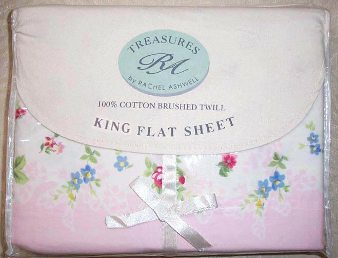 New Rachel Ashwell Chelsea Brushed Cotton White Pink Floral King Flat Sheet NWT