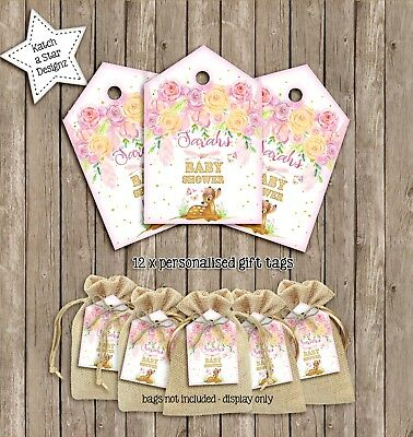 Personalised Boho Baby Shower Stickers Girl Favour Sweet Labels Party Bags
