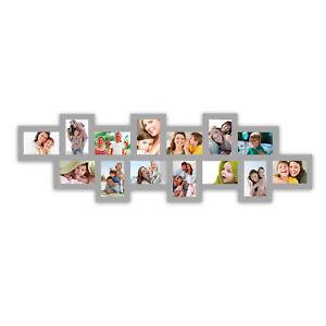 Moderner-zeitloser-Bilderrahmen-35-x-117-cm-fuer-14-Fotos-10-x-15-cm-in-grau