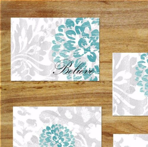 Gray Teal Wall Art Picture Print Bedroom Bathroom Decor Floral Rustic//Distressed