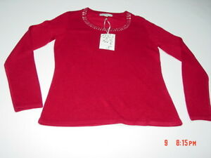 NWT Womens Carolyn Taylor Red Embellished Sweater Fancy Holiday ...