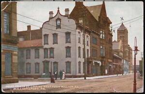 WILLIAMSPORT-PA-West-Fourth-Street-US-Post-Office-Antique-1912-Postcard-Vtg-PC