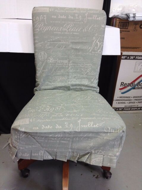 Ballard Designs Essential Pleated COUTURE Dining Chair SLIPCOVER Document  Sage
