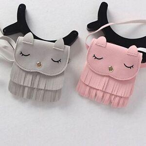Lovely-Kids-PU-Leather-Tassel-Small-Cat-Shoulder-Messenger-Bag-Purses-Fashion