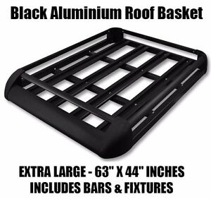 Black Aluminium Roof Rack Tray Luggage fits Discovery Landrover Toyota Ford Van