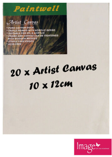 "20pcs Paintwell Artist Stretched Canvas 4x5"" Heavy Duty 38mm Thick SCS0405B"