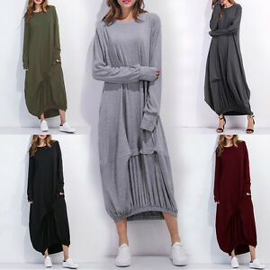Women-Vintage-Casual-Loose-Long-Sleeve-Maxi-Dress-Round-Neck-Long-Baggy-T-Shirt
