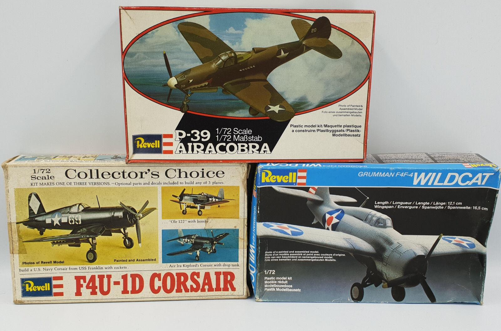 AVIATION   GRUMMAN F4F-4 WILDACT, P-39 AIRACOBRA & F4U-1D CORSAIR MODEL KITS