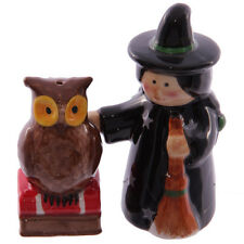 Brand New  WITCH & OWL Ceramic Salt & Pepper Pots Lisa Parker Gothic Goth Vamp