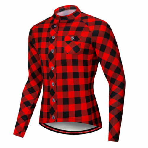 Plaid Cycling Jerseys Bike Clothing Sportswear Bicycle Jersey Jacket Shirt Top