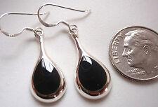 Black Onyx Teardrops of Silver 925 Sterling Silver Dangle Earrings