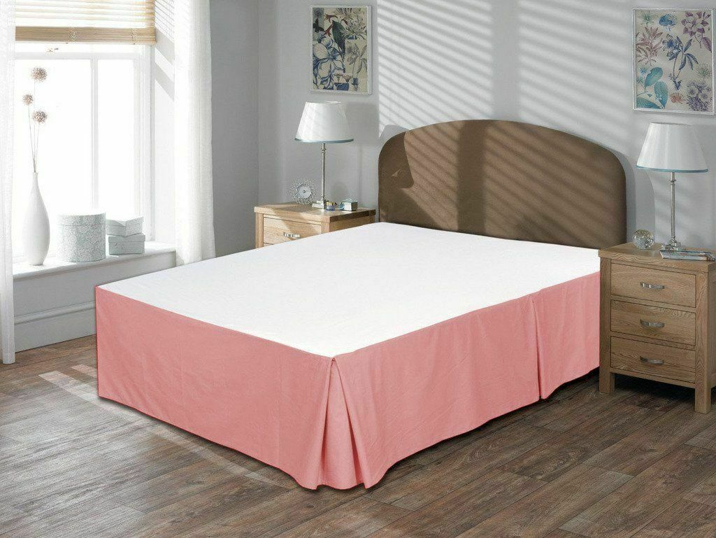1Qty Bed Skirt All Size US 100% Pima Cotton-1000 Thread - Pink Solid
