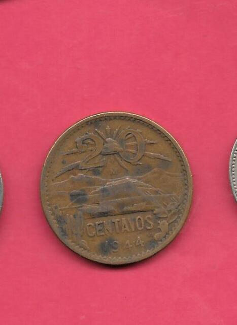 North & Central America 1944 Mexico 20 Centavo Coin Mexican Twenty Centavos Mexico