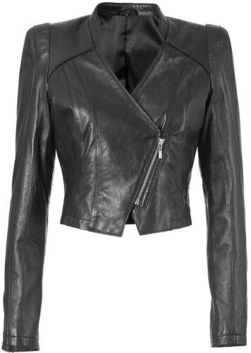 Nuevo 589593 Biker chaqueta de cuero-imitacion 34 36 38 40 42 44 Isabella fellini negro