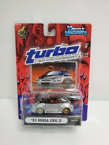 Muscle-Machines-Turbo-amp-High-Tech-Performance-039-03-Honda-Civic-Si-Silver-1-64-HTF