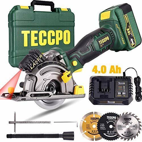 Scie Circulaire sans Fil TECCPO 18V 4.0Ah Batterie 1h Chargeur Rapide Guide d...