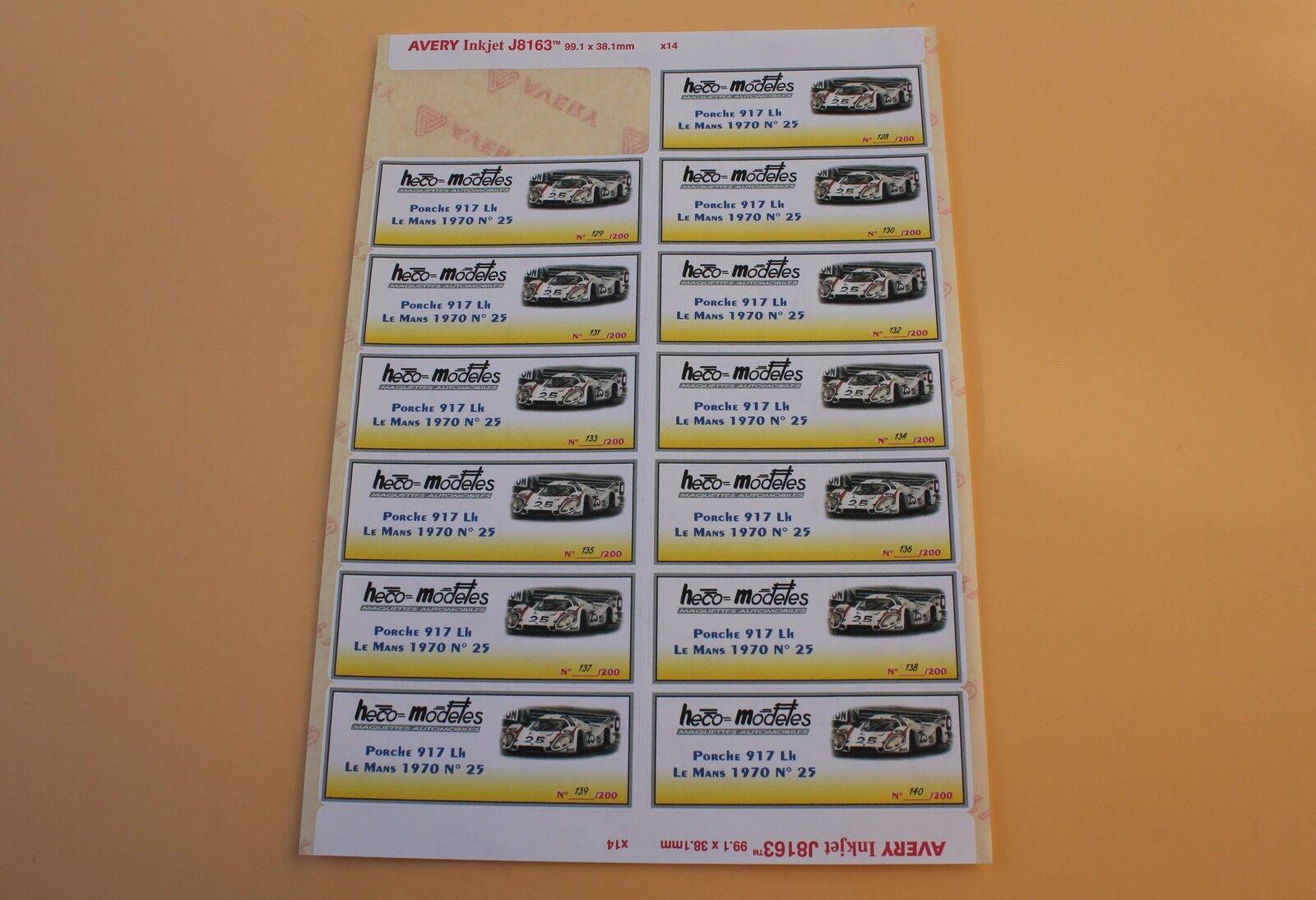 Qgb 1 Tabla 13 Ex Etiqueta Pegatina Porsche 917 LH Me Mans 1970 N º 25 Heco