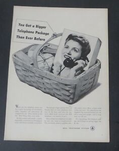 Original-Print-Ad-1948-BELL-TELEPHONE-SYSTEM-Package-Vintage-Art