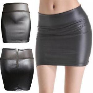 Femmes-sexy-noir-pu-cuir-crayon-de-couleur-unie-taille-haute-mini-jupe-courte-DB
