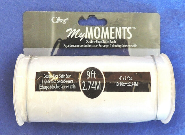 Offray White Satin Ribbon 4 inches wide x 3 yards DF My Moments Sash Ribbon