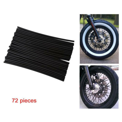 NEW Black 72pcs Wheel Spoke Skin Cover Wrap Kit 4 Motorcycle Motocross Dirt Bike