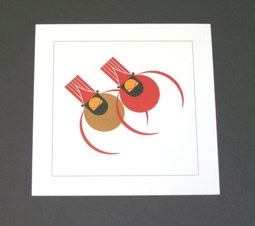 """Charles//Charley Harper Notecards /""""Cardinal Couple/"""" 4 Pack w//Envelopes"""