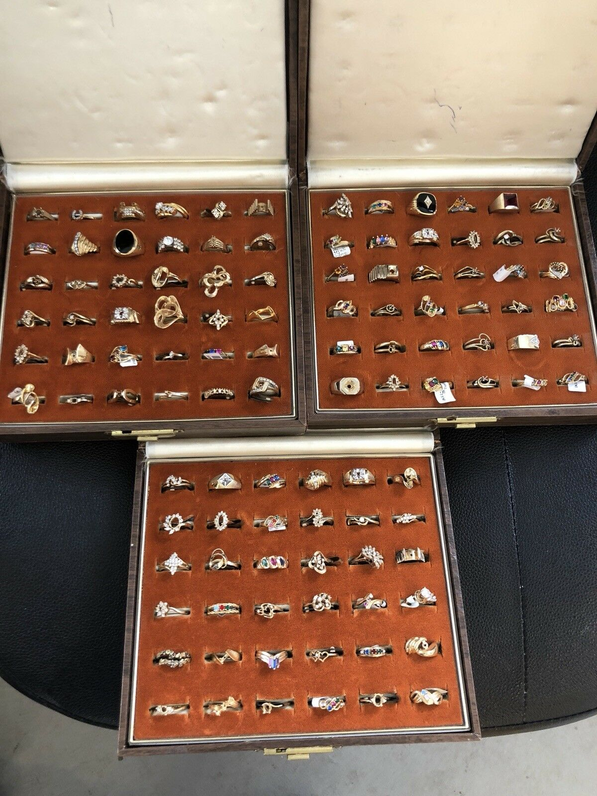 108 individual gold plated Mothers ,fashion and semi mount rings with gemstones
