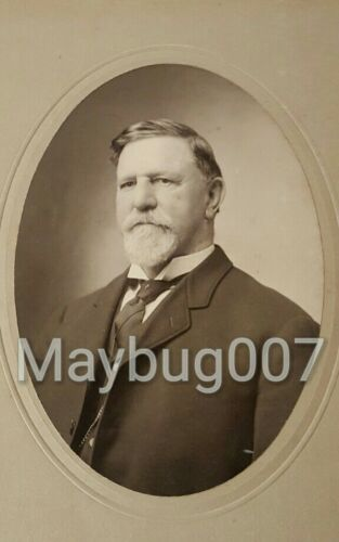 Antique Mounted Photograph Cabinet Style Identified Distinguished Man Levi Hega